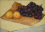 Paper bag with Apricots and Grapes, Egg Tempera on Canvas,540x380, 1989